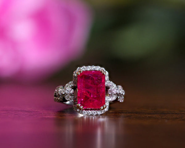 18K White Gold GIA Certified Ruby & Diamond Ring