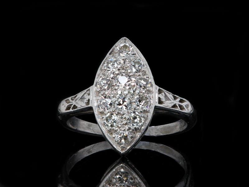 Platinum Art Deco Navette Diamond Ring 0.36cts GH Si