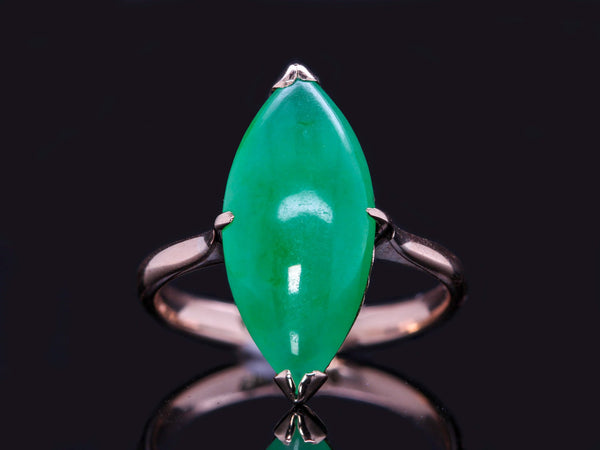 "Vintage Yellow Gold Natural Untreated ""A"" Jadeite Jade Cabochon Solitaire Navette Ring"