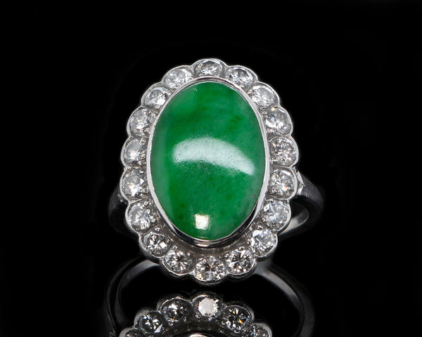 Vintage 1950's Platinum Green Jade Cabochon & Diamond Halo Ring