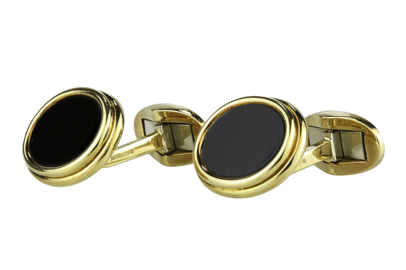 18K Yellow Gold Tiffany & Co Onyx Cufflinks