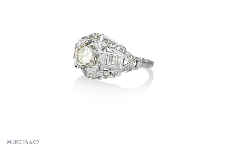 Art Deco Platinum 1.50 CT Diamond Engagement Ring