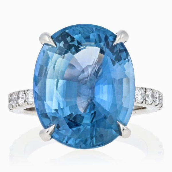 16.5 Carat Natural Heat-Only Ceylon Sapphire & Platinum Diamond Ring