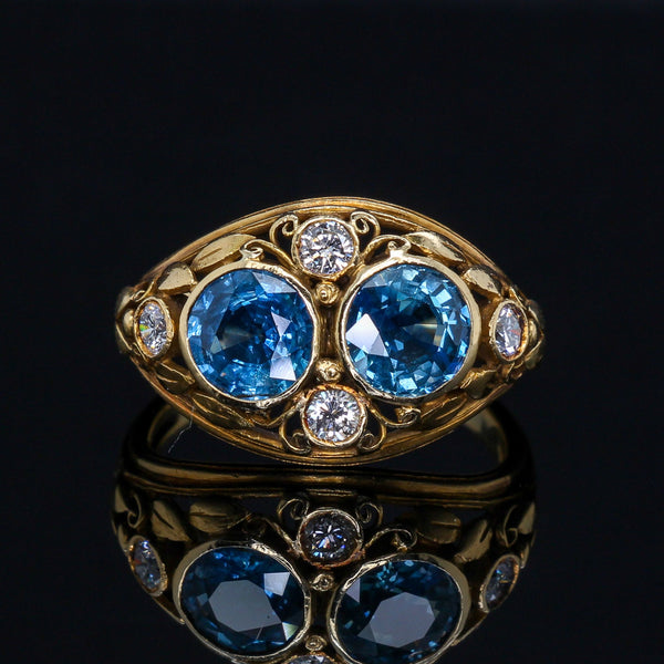 Yellow Gold Sapphire & Diamond Arts & Crafts Ring - Austin Jewelry & Diamond Buyers