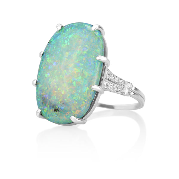 Platinum Art Deco Boulder Opal & Diamond Ring