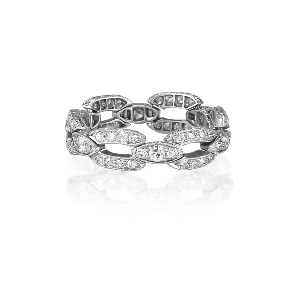 Platinum Art Deco 1 CTTW Diamond Chain-Style Band