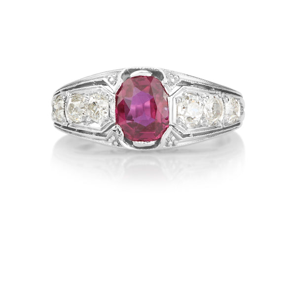 Platinum Ruby & Diamond Edwardian Ring