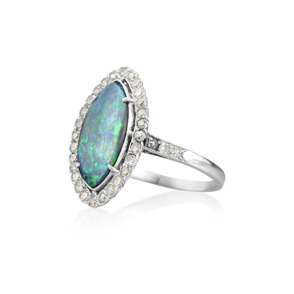 Platinum & Australian Marquise Black Opal Diamond Ring