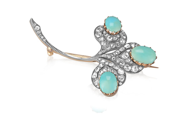 Victorian 9K & Silver Turquoise Diamond Clover Brooch