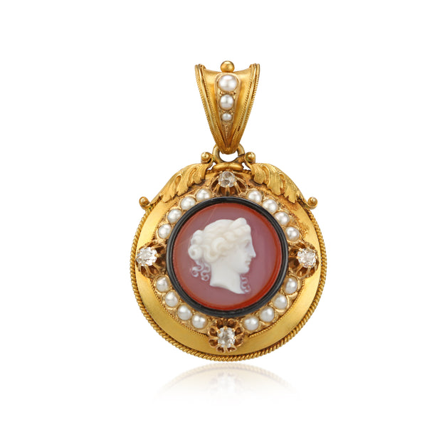 Victorian French 18KY Carnelian Cameo Locket