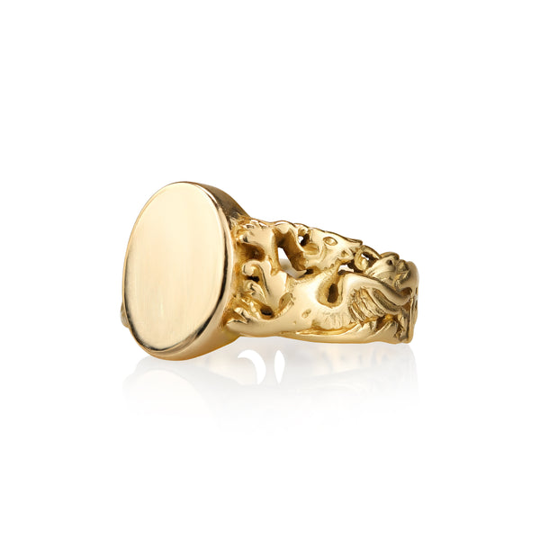 Victorian French 18k Yellow Gold Griffin Signet Ring