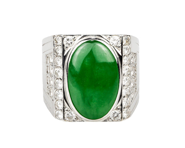 18K White Gold Jade Cabochon & Diamond Men's Ring