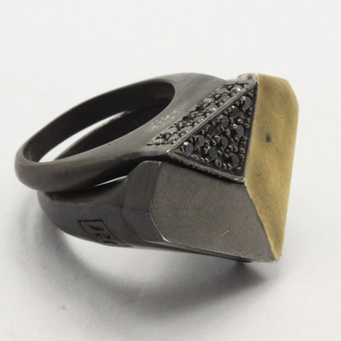 Roula Dfouni - 2 Piece Oxidised Silver & Gold Plated Deconstruct Rings