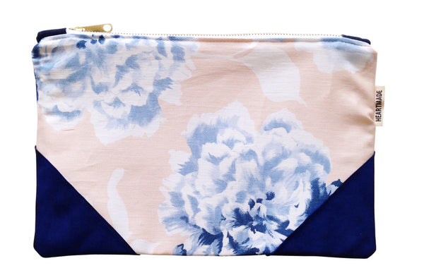 Heartmade Floral Clutch Bag with Navy Blue Leather Detail