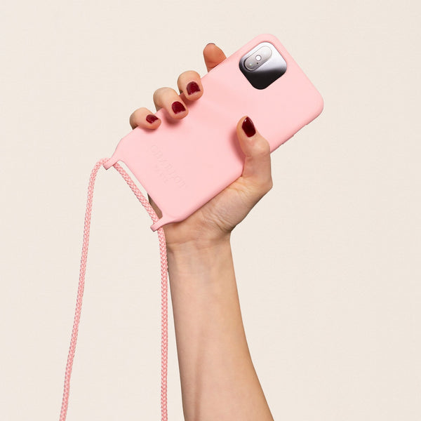 Coque Silicone Dusty Pink + Cordon