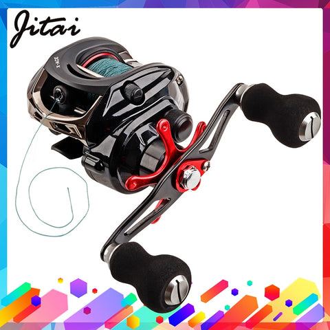 JITAI Baitcasting Fishing Reel Equipped PE 4 Strands line 8Kg Braking Power 14+1BBs Quality Ultra Light Wheels Carp Lure fishing