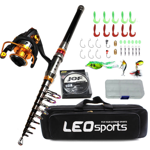carbon telescopic fishing rod combo spinning reel fishing set Short