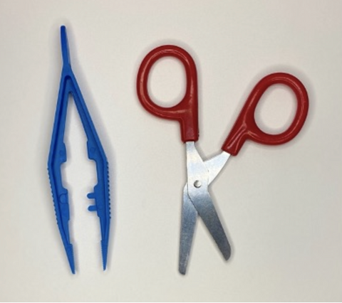 Scissors and Tweezers for First Aid