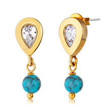 Load image into Gallery viewer, Turquoise Drop Stud Earring