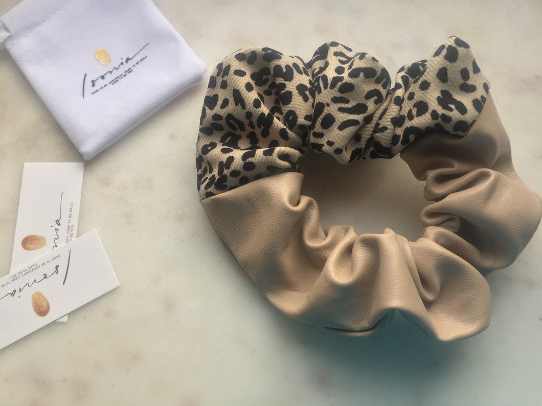Cream Leather Scrunchie
