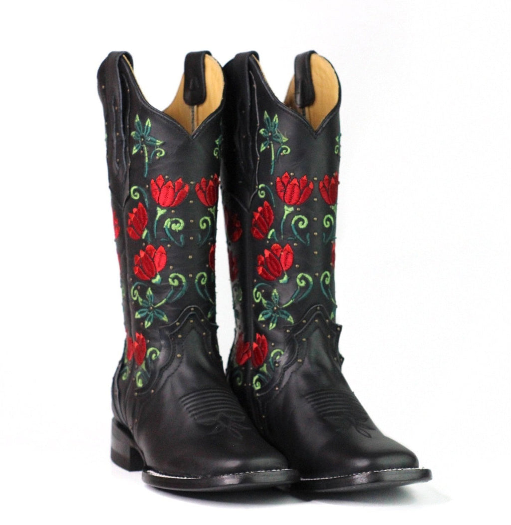 Red Flowers Boots ReyMe 063FL4