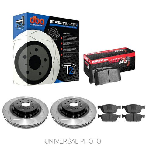 DBA T2 SLOTTED REAR ROTORS W/HAWK PERFORMANCE HPS 5.0 PADS - FORD FOCUS INC ST LW 11-15 - Automotive Therapy