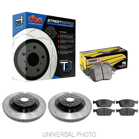 DBA T2 SLOTTED REAR ROTORS W/HAWK PERFORMANCE CERAMIC PADS - FORD FOCUS RS LZ 16-17 - Automotive Therapy