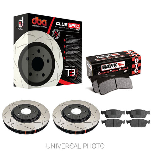 DBA T3 4000 SLOTTED FRONT ROTORS W/HAWK PERFORMANCE DTC-30 PADS - FORD FOCUS RS LZ 16-17 - Automotive Therapy