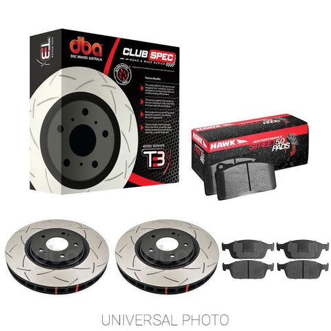 DBA T3 4000 SLOTTED REAR ROTORS W/HAWK PERFORMANCE HPS 5.0 PADS - FORD FOCUS RS LZ 16-17 - Automotive Therapy