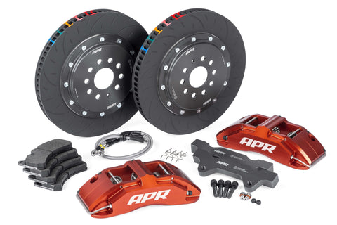 APR BRAKES B8 S4 - 380X34MM 2 PIECE 6 PISTON KIT - FRONT - RED - (MLB 345MM) - Automotive Therapy