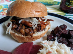 Finished photo of BBQ Mushrooms Faux Pull Pork