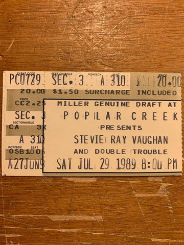 Stevie Ray Vaughan Concert Ticket from back in the day