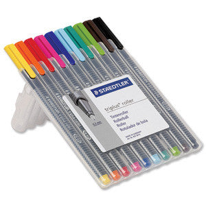 Staedtler 403 SB10 Triplus Rollerball Desktop Box Of 10 Assorted Colours