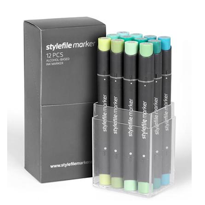 Stylefile 12 Pen Set - Green Set