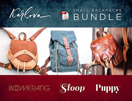 Leather PDF Pattern Bundle, 3 Small Backpacks