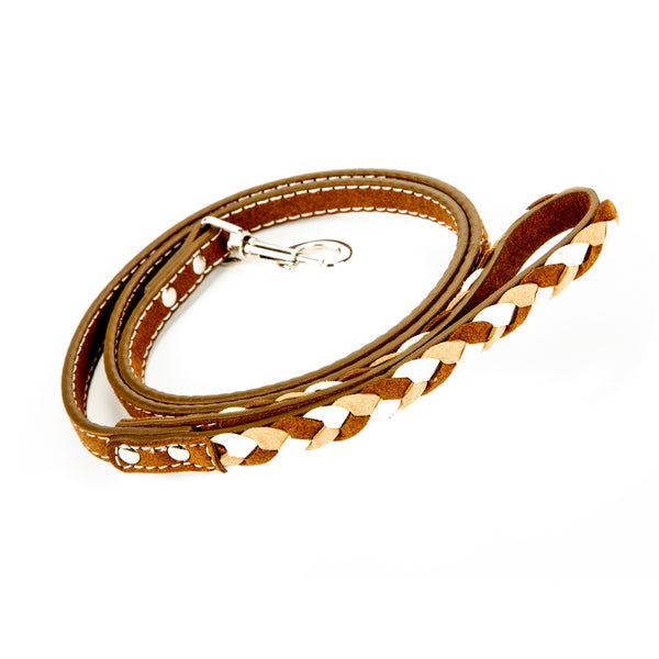 Natural Braided Leather Collar