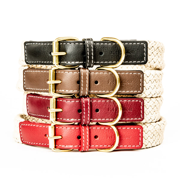 Pet Pavilion Luxury Leather & Rope Collar