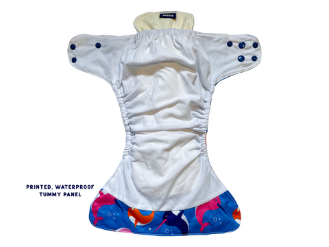reusable pocket cloth diaper with tummy panel to prevent leaks