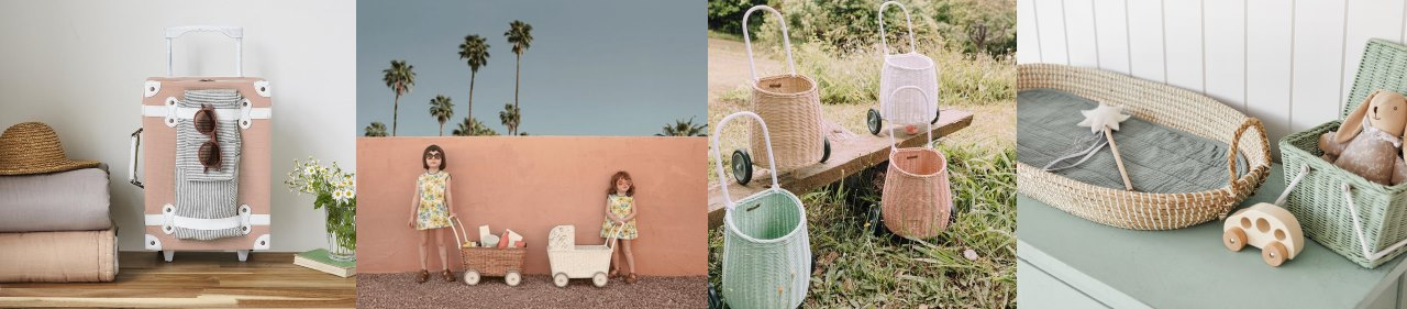 Olli Ella wicker and rattan baskets, Reva baby changing basket, luggy, seeya suitacase, holdie house
