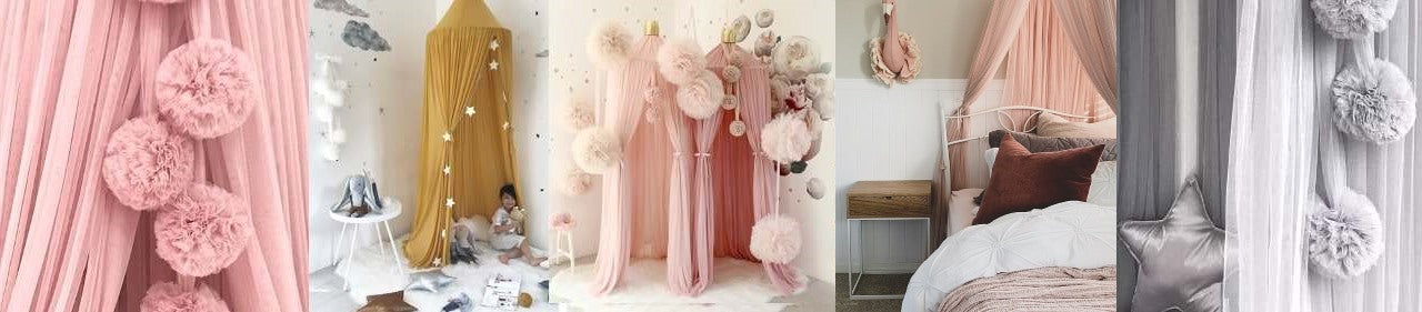 Spinkie Baby tulle bed canopies and pom garlands