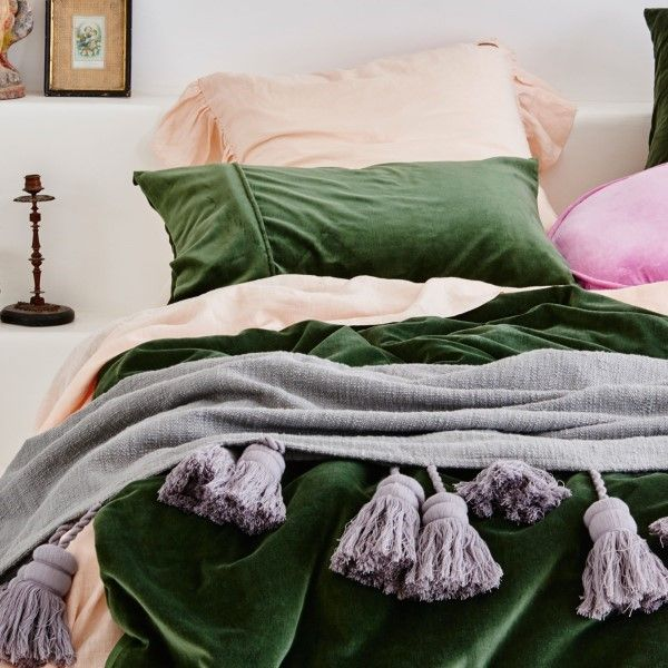 Kip and Co | Cotton Tassel Throw | Storm Grey