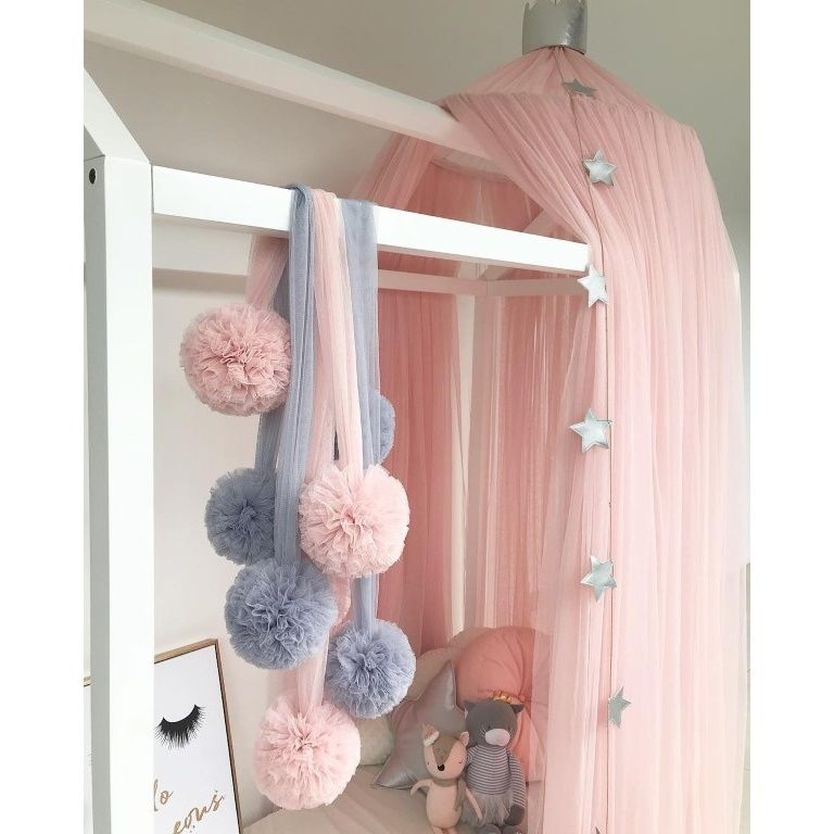 Spinkie Baby | Pom Garland | Light Pink Tulle