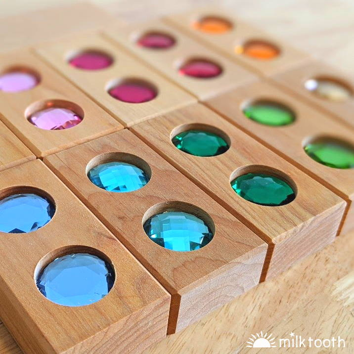 Bauspiel | Colour Street 22 Pieces with Tray | Wooden Blocks Half Set
