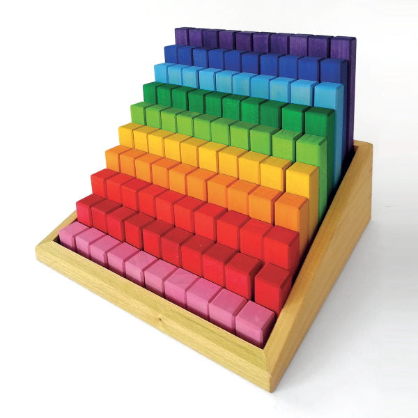 Bauspiel | Stepped Colour Blocks | 100 Blocks with Tray