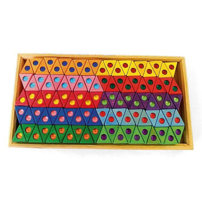 Bauspiel | Triangles | 100 Wooden Blocks with Tray