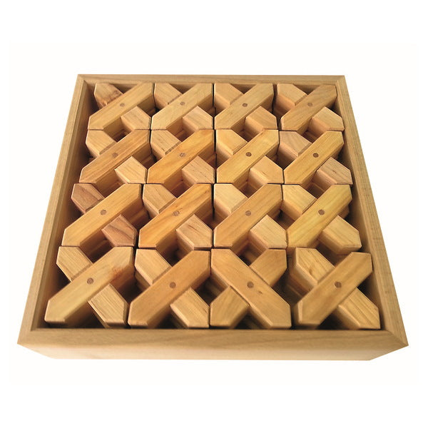 Bauspiel | X-Shapes | 24 Blocks with Tray | Cross Shaped Wooden Building Blocks