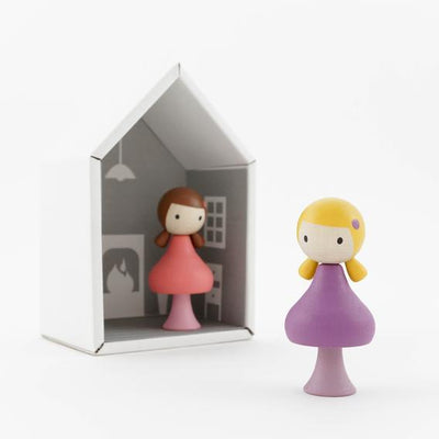 CLiCQUES | Magnetic Wooden Toy People | Lucy & Maggie pink and purple
