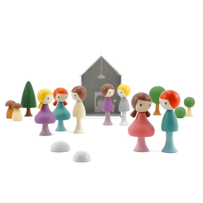 CLiCQUES | Magnetic Wooden Toys | Village with girls boys trees house mushrooms stones gardens