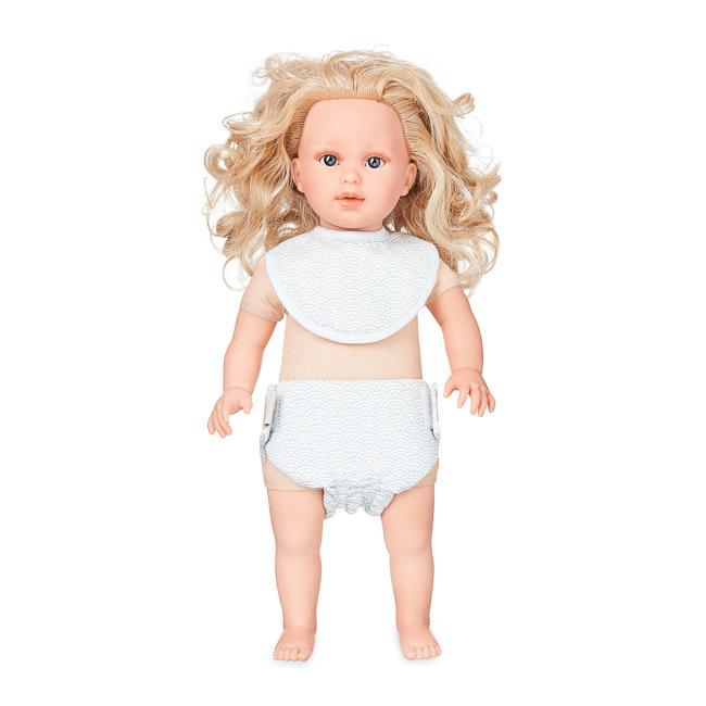 Cam Cam | Doll's Bib & Diaper / Nappy Set | Grey Wave