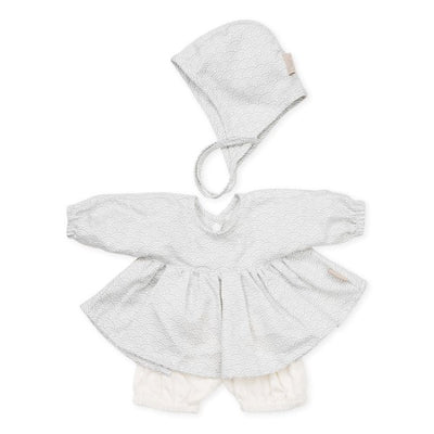 Cam Cam | Doll's Clothing Set & Bonnet | Grey Wave